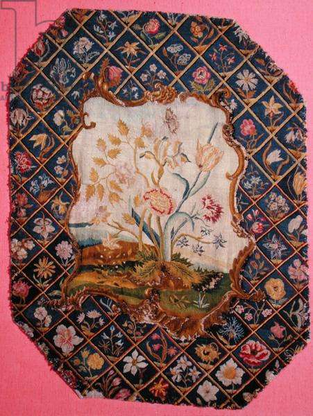 Embroidery from a firescreen or chair back, mid-18th century (wool and silk on linen)