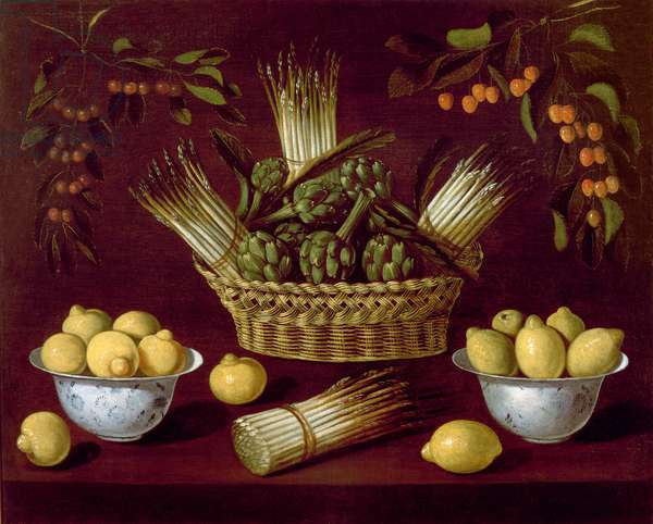 Still life with Asparagus, Artichokes, Lemons and Cherries (oil on canvas)