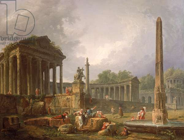 Architectural Capriccio with temple and obelisk, 1798 (oil on canvas)