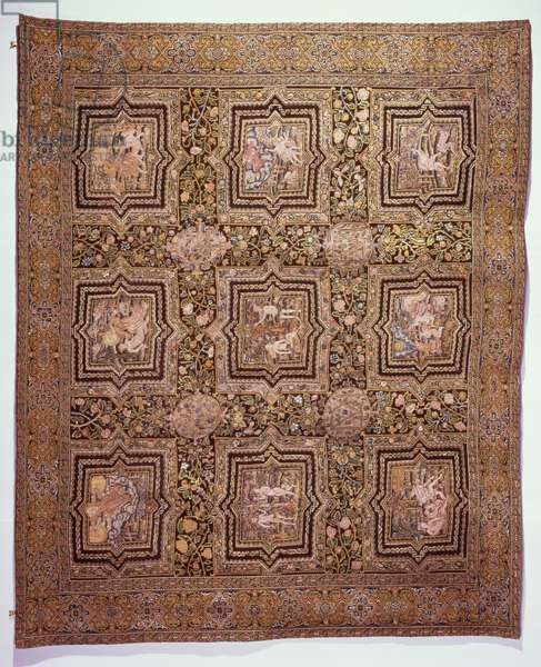 Embroidered table carpet with biblical scenes, c.1600 (wool and silk on linen canvas)