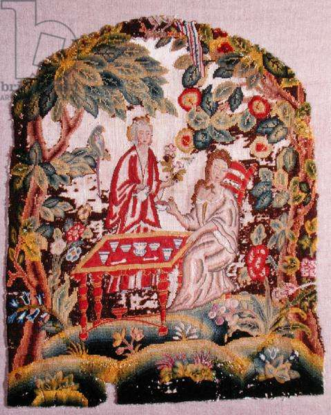 Embroidered chair, c.1700 (wool and silk on canvas)