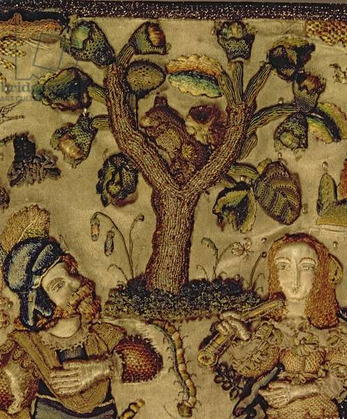 Stumpwork depicting a couple under a tree, detail from the lid of a casket (silk)