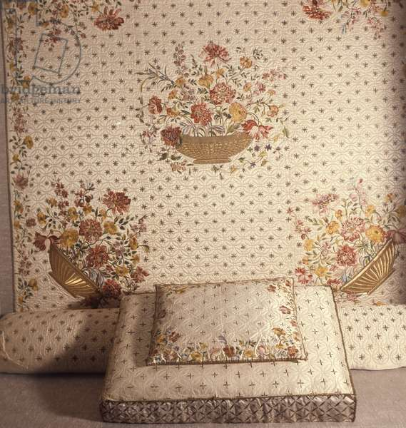 Satin embroidered bed hangings, 1717 (satin)