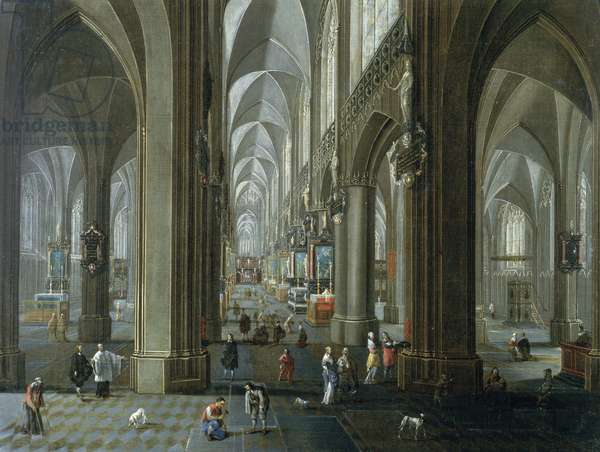 Interior of The Cathedral of Our Lady of Antwerp (oil on canvas)