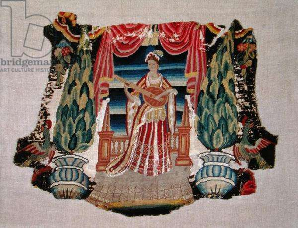 Chair seat, c.1690 (embroidery on canvas)
