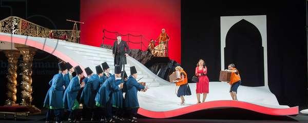 Ezgi Kutlu as Isabelle and  Bozidar Smiljanic as Haly performing  in L'Italiana in Algeri at Garsington Opera