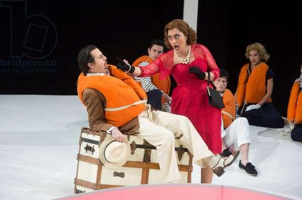 Ezgi Kutlu as Isabella the Italina Girl  and Ricardo Novaro as her Taddeo performing in L'Italiana in Algeri at Garsington Opera