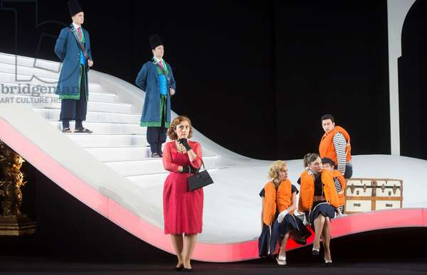 Ezgi Kutlu as Isabella the Italina Girl performing in L'Italiana in Algeri at Garsington Opera