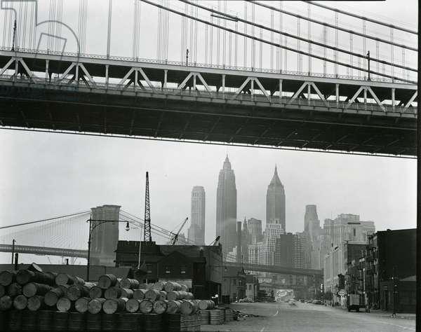 Bridge and Skyline, New York, c. 1945 (silver gelatin print)
