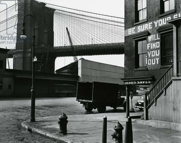 Brooklyn Beach and Street, New York, c. 1945 (silver gelatin print)