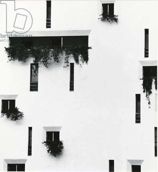 Windows and Building, Puerto Vallarta, Mexico, 1976 (silver gelatin print)