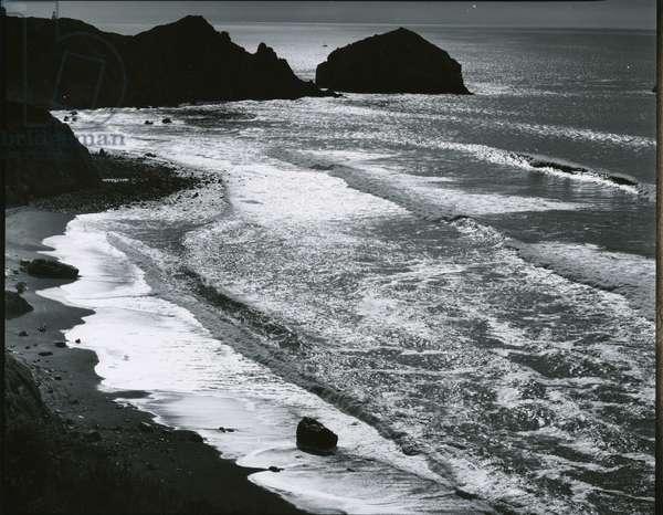 Rock, Sand, Water, Oregon, c. 1970 (silver gelatin print)