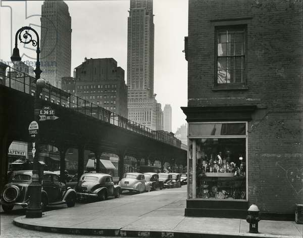 Train Overpass, New York, 1943 (silver gelatin print)