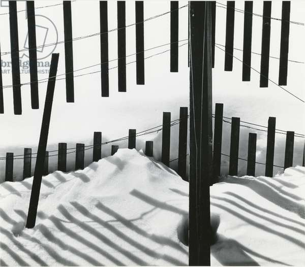 Snow and Fence, Owens Valley, 1972 (silver gelatin print)