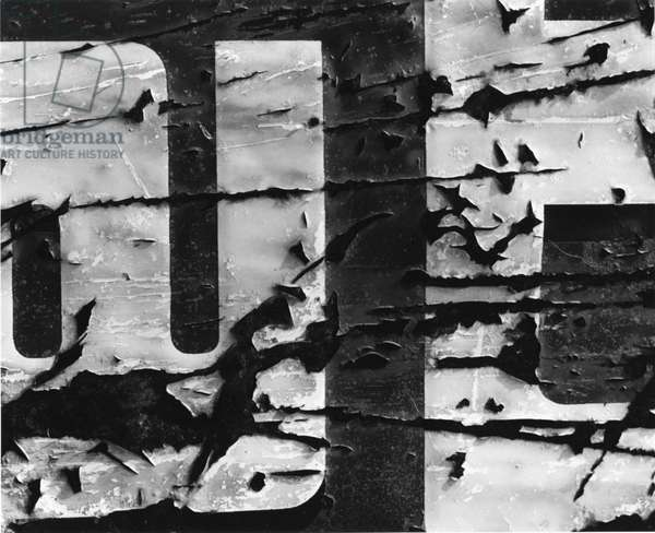 Cracked Paint and Sign, c.1970 (silver gelatin print)