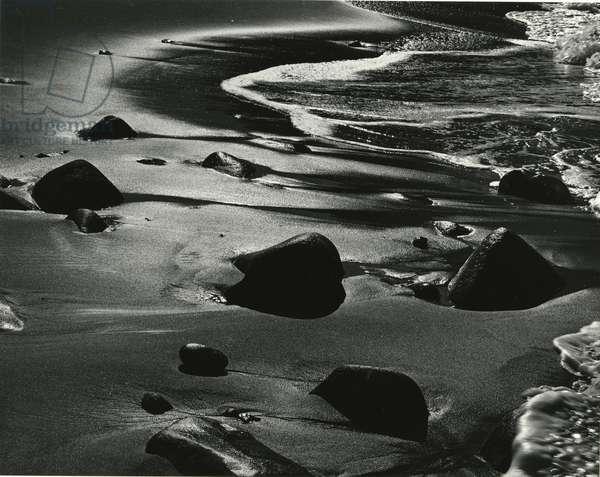 Rocks, Water, Coast, California, 1975 (silver gelatin print)