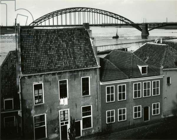 Row Houses with Bridge, Holland, 1960 (silver gelatin print)