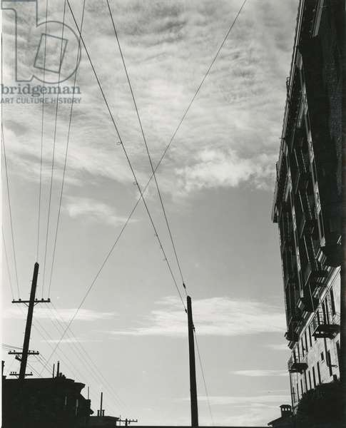 Telephone Lines and Buildings, c. 1940 (silver gelatin print)