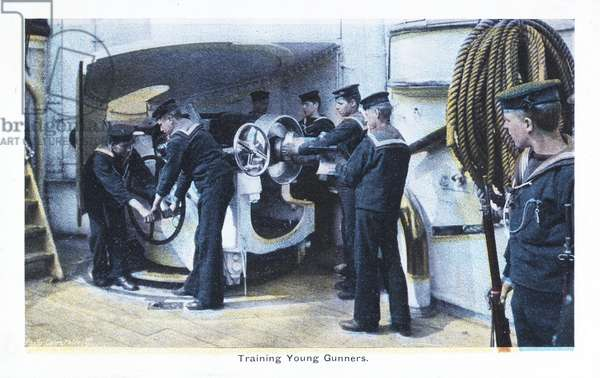 'Training Young Gunners', Royal Navy Postcard, early 20th century (print)