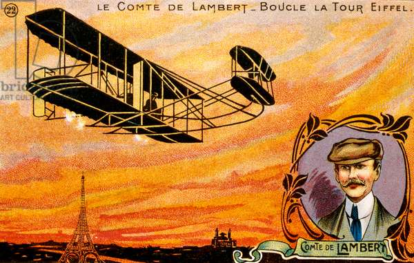 Postcard celebrating French pioneer aviator Count Charles de Lambert, early 1900s (chromolitho)