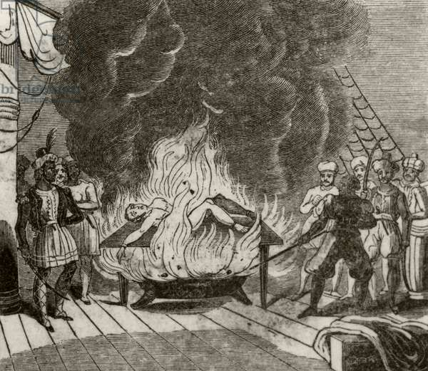 'Angora, the Indian pirate, roasting the English captain alive', c.1836