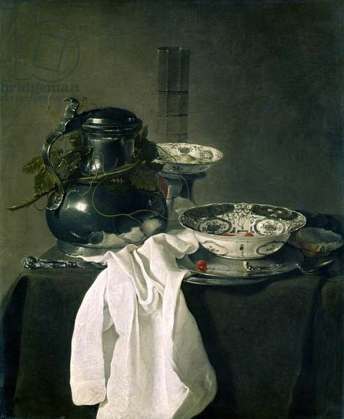 Still life with Pewter Flagon & Two Ming Bowls by Jan Treck