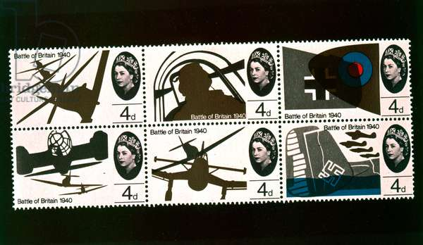 Postage stamps commemorating the 25th Anniversary of the Battle of Britain, 1965 (photogravure)