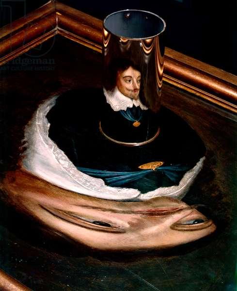 Anamorphic portrait of Charles I (oil on panel)