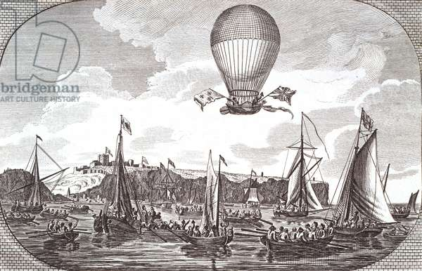 First aerial crossing of the English Channel (engraving)