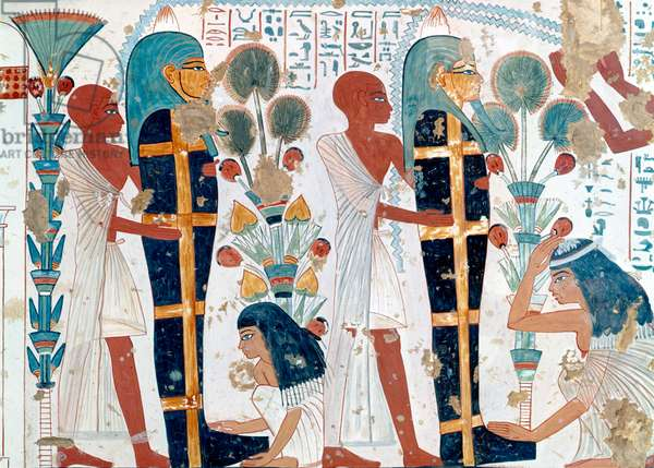Copy of a 14th century BC Egyptian painting from the tomb of Nebamun and Ipuky showing water offering to the mummy, 20th century