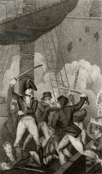 Blackbeard boarding the Pearl, commanded by Lieutenant Maynard