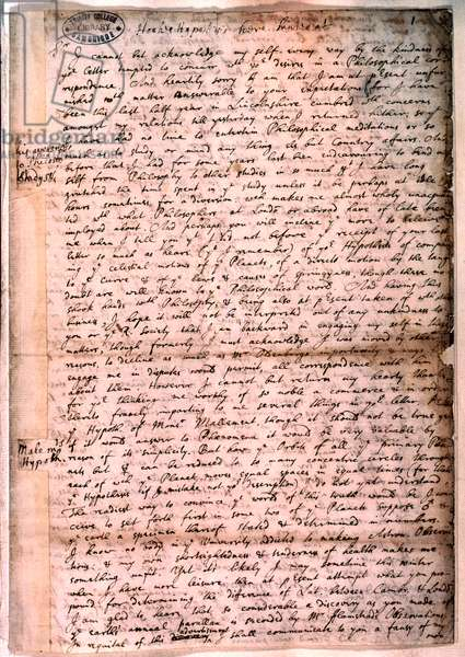 Letter written by Isaac Newton, 28 November 1679 (pen & ink on paper)