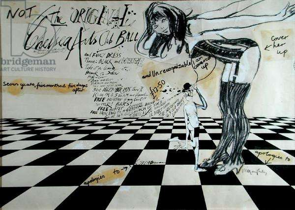 'Not The Original Chelsea Arts Club Ball' (pen & ink and charcoal and collage on paper)