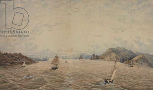 The Golden Gate from near Alcatraz, 1872 (w/c on paper)