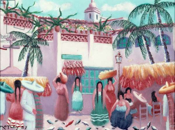 Market Scene, Mexico, 1957 (oil on canvas)