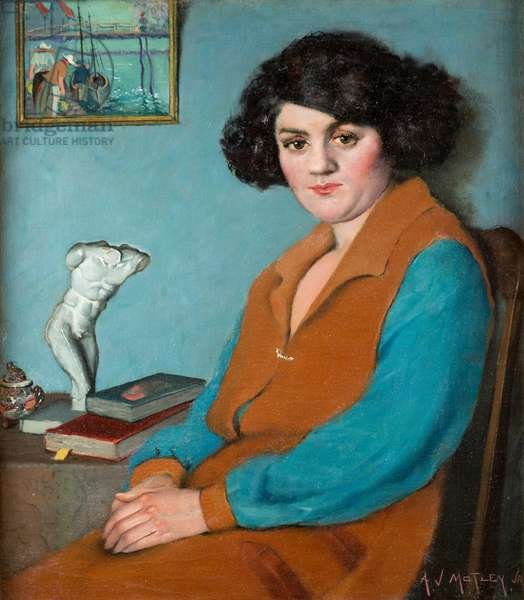 Mulatress with Figurine and Dutch Seascape, 1920 (oil on canvas)