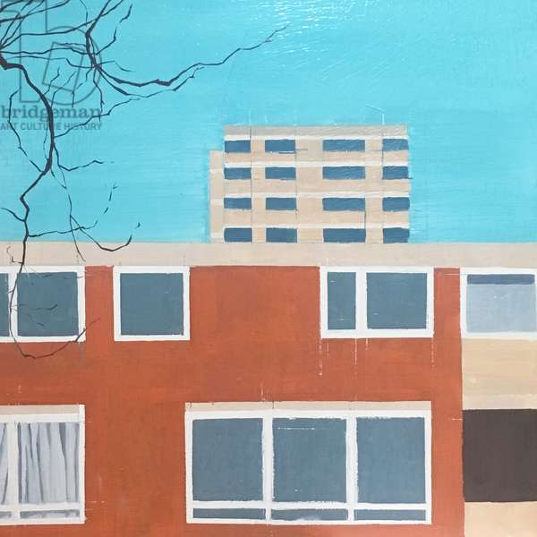 High Rise, Red Brick Building, 2018 (oil on panel)