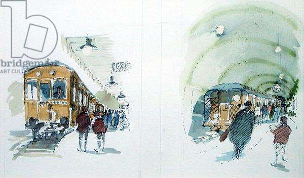 North London Trains, illustration for 'Summoned by Bells' by Sir John Betjeman (1906-84) published in 1989 (w/c on paper)