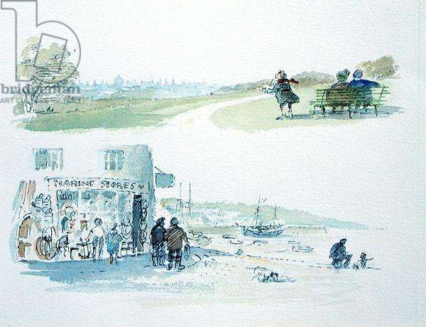 Hampstead Heath and the Marine Stores, Padstow, illustrations for 'Summoned by Bells' by Sir John Betjeman (1906-84) published in 1989 (w/c on paper)