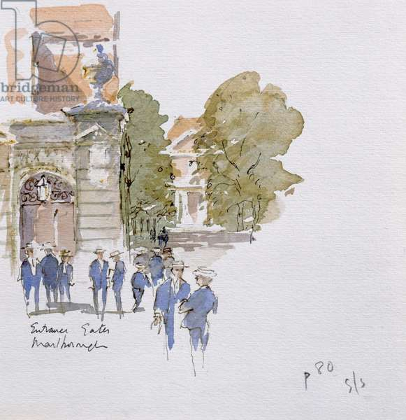 Entrance Gates, Marlborough, illustration for 'Summoned by Bells' by Sir John Betjeman (1906-84) published in 1989 (w/c on paper)