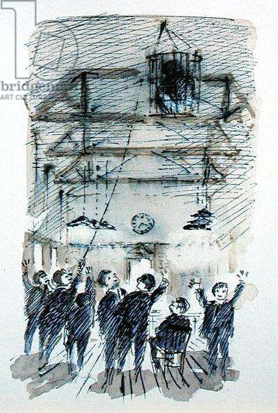 'With Ropes They Strung the Basket up Among the Beams', illustration for 'Summoned by Bells' by Sir John Betjeman (1906-84) published in 1989 (w/c on paper)