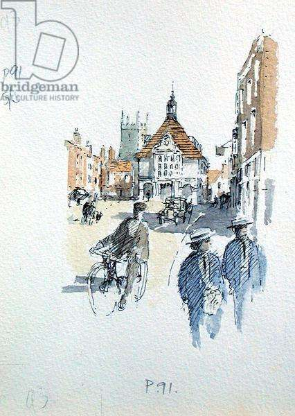 Marlborough High Street, illustration for 'Summoned by Bells' by Sir John Betjeman (1906-84) published in 1989 (w/c on paper)