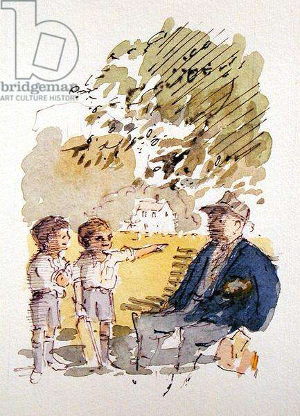 Cricket Master, illustration for 'Summoned by Bells' by Sir John Betjeman (1906-84) published in 1989 (w/c on paper)