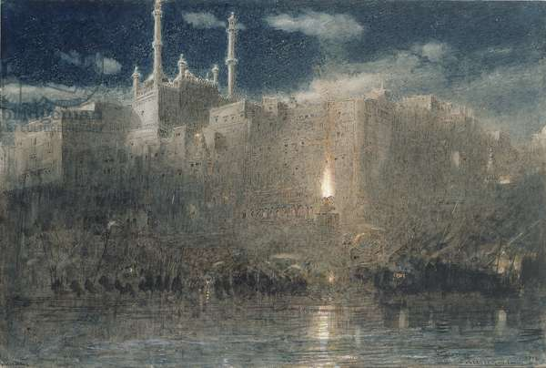 Benares by Moonlight, 1916 (pen & ink with w/c & bodycolour on paper)