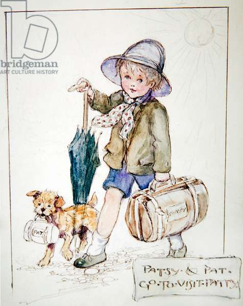 Patsy and Pat go to visit Patty, c.1919 (pen & ink with w/c & pencil on paper)