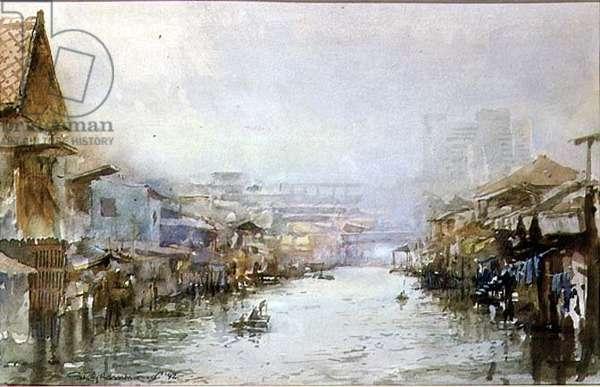 Khlong Sen Seb Canal, Bangkok, 1992 (w/c on paper)