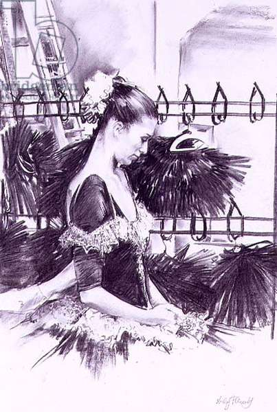The Fitting, Ballet Central (charcoal on paper)