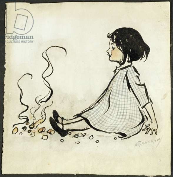 Little Polly Flinders (pen and ink & w/c on paper)