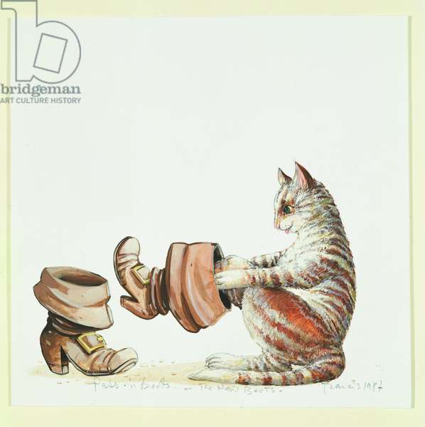 'The New Boots', illustration from 'Puss in Boots', preparatory piece from 'A Magical Menagerie' by Charles Perrault, pub. by Methuen Children's Books, 1988 (w/c on paper)