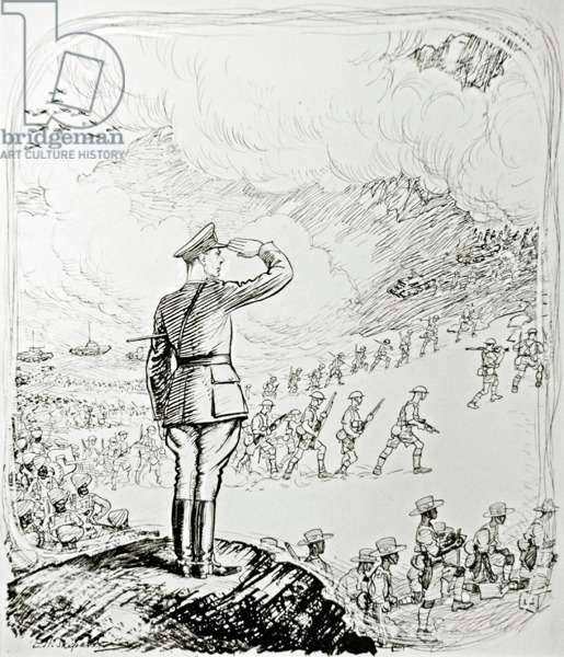 The King in Africa, 1943 (pen and ink on paper)